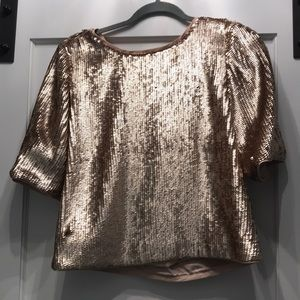 Jcrew collection rose gold sequin bow back top
